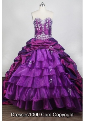 Elegant Ball Gown Sweetheart Neck Floor-length Purple Quinceanera Dress
