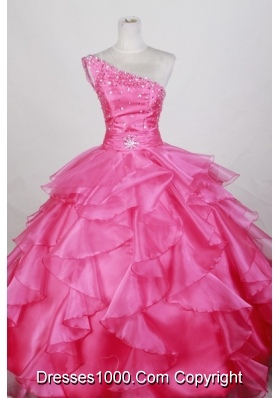 Luxurious Ball Gown One Shoulder Floor-length Hot Pink Quinceanera Dress