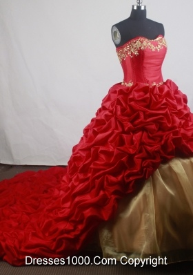 Romantic Ball Gown Strapless Floor-length Red Quinceanera Dress