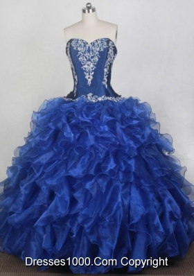 Classical Ball Gown Sweetheart Neck Floor-length Blue Quinceanera Dress