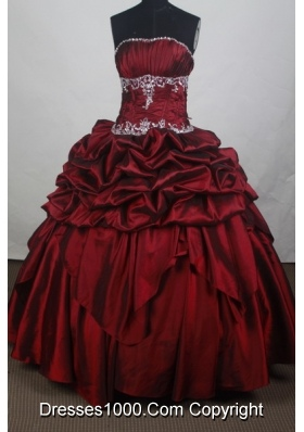 Modest Ball Gown Strapless Floor-length Burgundy Quincenera Dresses