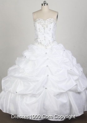Simple Ball Gown Sweetheart Floor-length White Quincenera Dresses