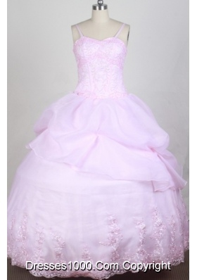 Sweet Ball Gown Straps Floor-length Pink Quincenera Dresses