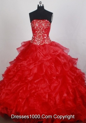 Beauty Ball Gown Strapless Brush Red Quincenera Dresses