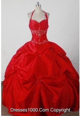 Beautiful Ball Gown Halter Floor-length Red Quincenera Dresses