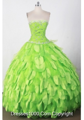 Beautiful Ball Gown Strapless Floor-length Green Quincenera Dresses