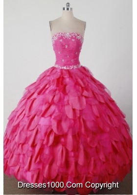 Beautiful Ball Gown Strapless Floor-length Hot Pink Quincenera Dresses