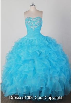 Brand New Ball Gown Strapless Floor-length Aqua Quincenera Dresses