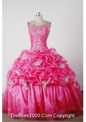 Elegant Ball Gown Straps Floor-length Hot Pink Quincenera Dresses