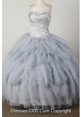 Elegant Ball Gown Sweetheart Floor-length Silver Quincenera Dresses