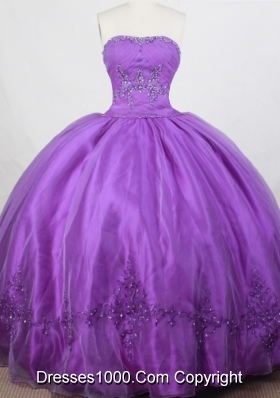 Romantic Ball Gown Strapless Floor-length Quinceanera Dress