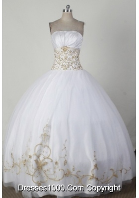 Simple Ball Gown Strapless Floor-length White Quincenera Dresses