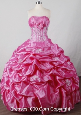 Sweet Ball Gown Strapless Floor-length Hot Pink Quincenera Dresses