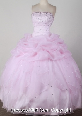 Sweet Ball Gown Strapless Floor-length Pink Quincenera Dresses