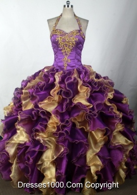 2012 Brand New Ball Gown Halter Top Neck Floor-Length Quinceanera Dress