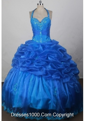 2012 Exquisite Ball Gown Halter Top Floor-Length Quinceanera Dress