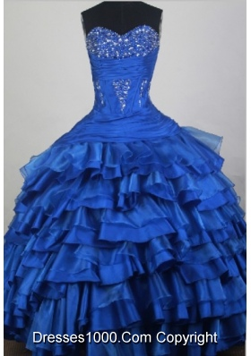 2012 Modest Ball Gown Sweetheart Neck Floor-Length Quinceanera Dresses