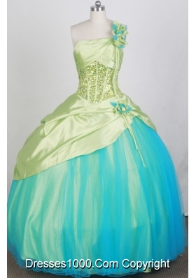 2012 Pretty Ball Gown One Shoulder Neck Floor-Length Quinceanera Dresses