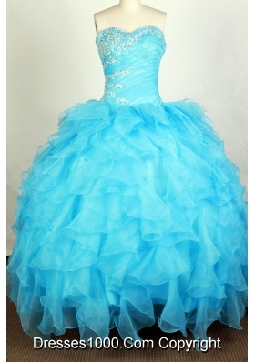 Beautiful Ball Gown Sweetheart Floor-length Aqua Quinceanera Dress