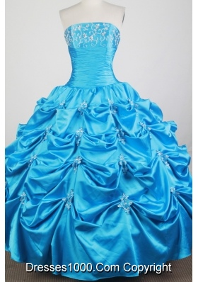 Classical Ball Gown Strapless Floor-length Baby Blue Quinceanera Dress