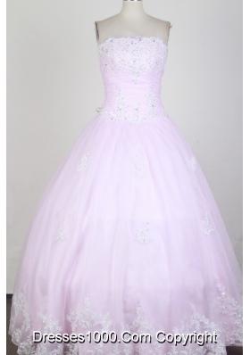 Classical Ball Gown Strapless Floor-length  Quinceanera Dress