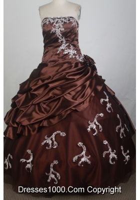 Discount Ball Gown Strapless Floor-length Burgundy Quinceanera Dress