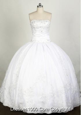 Elegant Ball Gown Strapless Floor-length White Quinceanera Dress