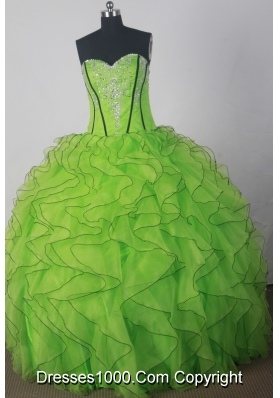 Fashionable A-line Strapless Floor-length Green Quinceanera Dress