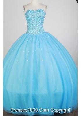Luxurious Ball Gown Strapless Floor-length Baby Blue Quinceanera Dress