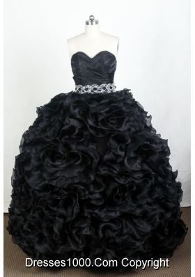 Luxurious Ball Gown Sweetheart Floor-length Black Quinceanera Dress
