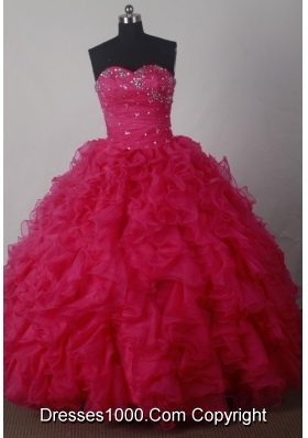 Luxuriously Ball Gown Strapless Floor-length Organza Red Beading Quinceanera Dress