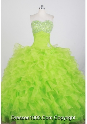 Modest Ball Gown Strapless Floor-length Spring Green Quinceanera Dress