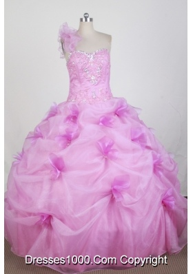 New Ball Gown One Shoulder Floor-length Hot Pink Quinceanera Dress