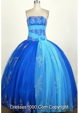 Popular Ball Gown Strapless Floor-length Blue Quinceanera Dress