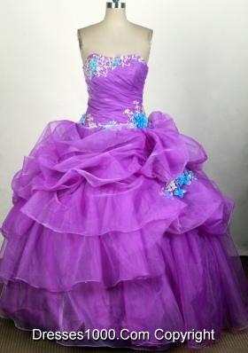 Popular Ball Gown Strapless Floor-length Fuchsia Quinceanera Dress
