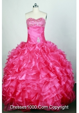 Popular Ball Gown Sweetheart Floor-length Hot Pink Quinceanera Dress