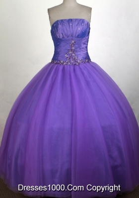 Simple A-line Strapless Floor-length Quinceanera Dress