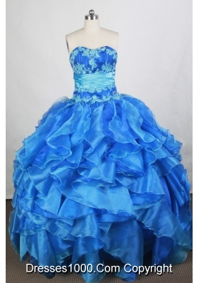 Exquisite Ball Gown Sweetheart Floor-length Blue Quinceanera Dress
