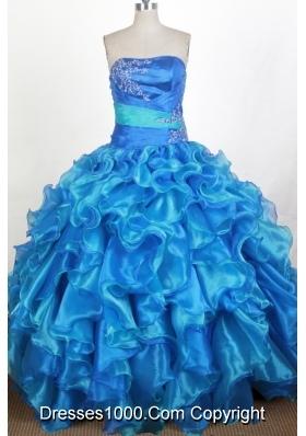 Formal  Ball Gown Strapless Floor-length Quinceanera Dress