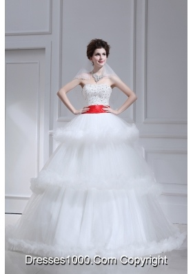 2014 Spring Beautiful Ball Gown Strapless Beading Ruffled Layers Chapel Train Wedding Dress