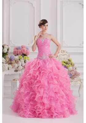 Ball Gown Sweetheart Organza Beading Ruffles Rose Pink Quinceanera Dress