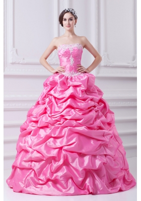Pretty Rose Pink Strapless Appliques 2014 Quinceanera Dress with Appliques