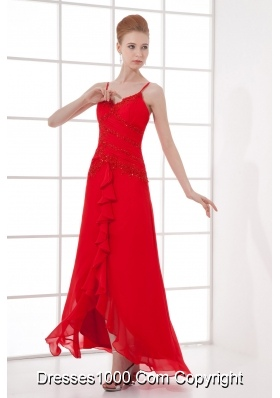 Spaghetti Straps Tea-length Chiffon Red Dresses for Prom