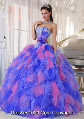 Appliques and Flowers Organza 2013 Quinceanera Dress for Sweet 16