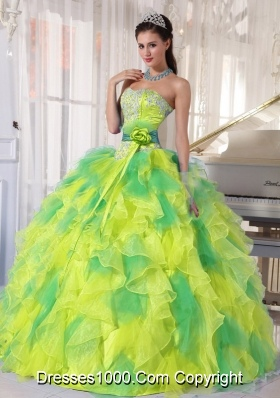 Appliques and Ruffles Floor-length Cheap Quinceanera Dress for 2014 Spring