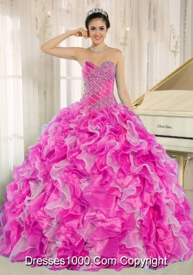 Hot Pink Beaded and Ruffles Custom Made For 2013 Fashionable Quinceanera Dress
