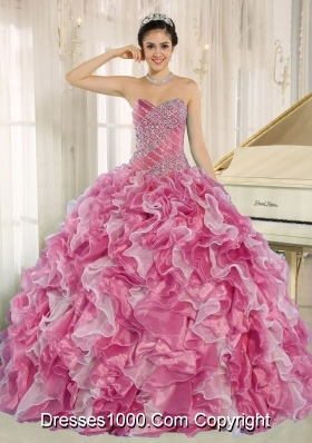Pink Beaded Bodice and Ruffles Custom Made For 2013 Elegant Quinceanera Dress