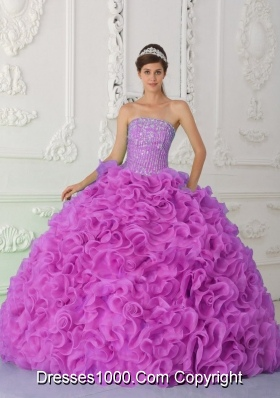 Strapless Fuchsia Discount Quinceanera Dress with Ruffles and Beading