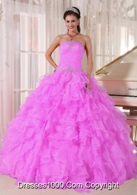 Sweet Ball Gown Strapless Ruffles Organza Beading Fuchsia 2013 Quinceanera Dress