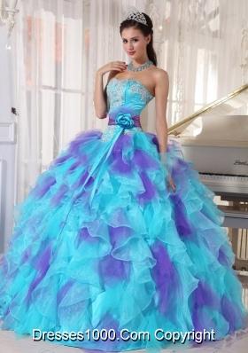 Aqua and Purple Organza Appliques Decorate Quinceanera Dress 2014